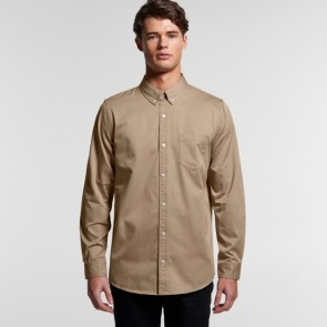 AS Colour Men's Denim Wash Shirt - Khaki Model Front