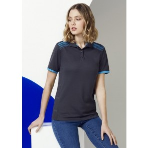 Biz Collection Ladies Galaxy Polo Shirt - Grey Cyan Model