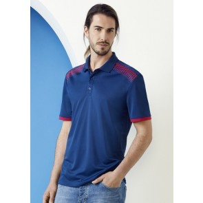 Biz Collection Men's Galaxy Polo Shirt - Steel Blue Magenta Model