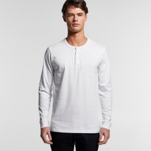 AS Colour Men's Henley Long Sleeve Tee - White Model Front