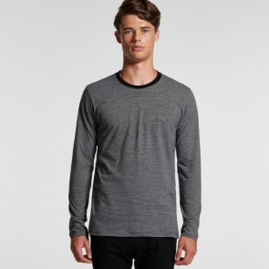 AS Colour Men's Line Stripe Long Sleeve Tee - Grey Marle Black Model Front