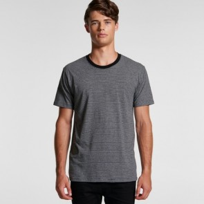 AS Colour Men's Line Stripe Tee - Grey Marle Black Model Front