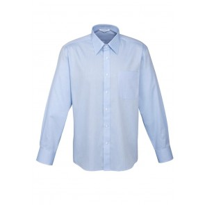 Mens Luxe Long Sleeve Shirt 100% Cotton Mini Herringbone Blue
