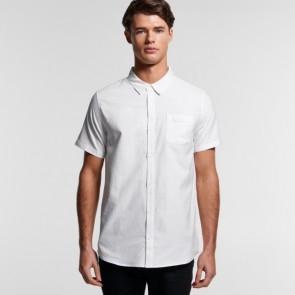 AS Colour Men's Oxford Short Sleeve Shirt - White Model Front