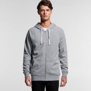 AS Colour Mens Premium Zip Hood - Grey Marle Model Front
