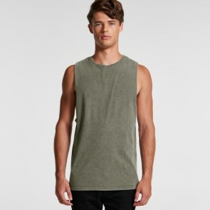 AS Colour Men's Stone Wash Barnard Tank - Moss Stone Model Front