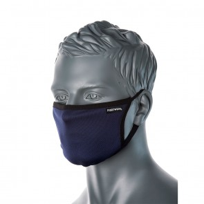 Portwest 3-Ply Anti-Microbial Fabric Face Mask with Nose Band - 25 Pack
