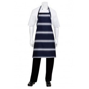 Chef Works Navy Butcher Stripe Bib Apron