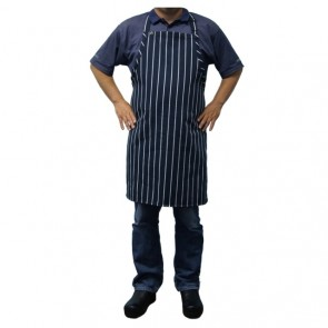 Chef Works Navy/White Striped Bib Apron No Pocket