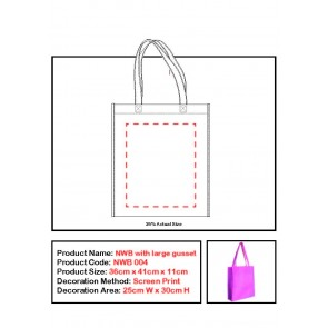 Non Woven Tote Bag Large Gusset Print Set Up Fee