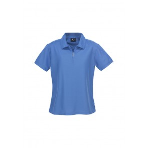 LADIES MICRO WAFFLE POLO P3325 - AZURE BLUE