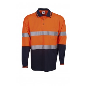 Budget Hi Vis Cool Dry Polo Shirt L/Sleeve Day/Night 165 gsm