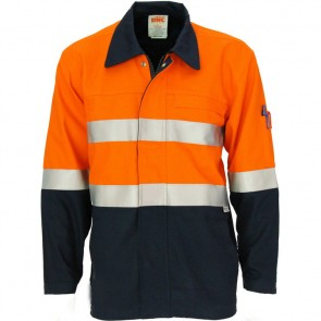 DNC Patron Saint® Hi Vis Flame Retardant Two Tone Drill ARC Rated Welder's Jacket with 3M F/R Tape