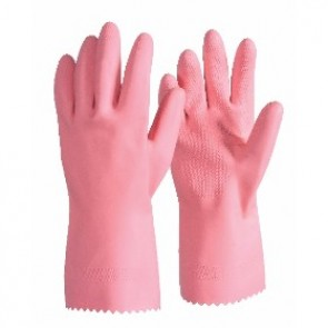 Pink Silver Lined Latex Glove 30cm