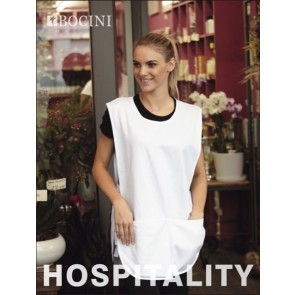 Bocini Cotton Drill Popover Apron with Pocket - White White Model