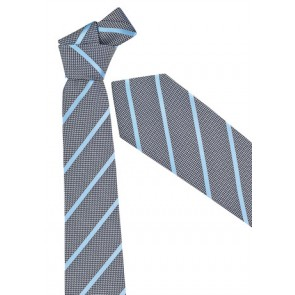 Biz Corporate Mens Single Contrast Stripe Tie - Alaskan Blue