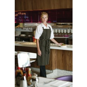 Chef Works Striped Bib Apron - Brown Cream