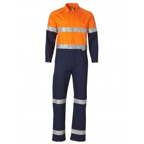 Australian Industrial Wear Men's Cotton Drill Coverall with 3M Scotchlite Tapes