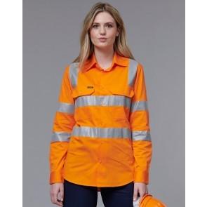 Australian Industrial Wear Hi Vis VIC Rail Unisex Light Weight Cotton Long Sleeve Shirt