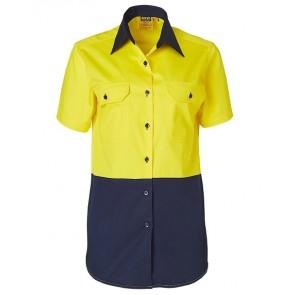 Australian Industrial Wear Women's Hi Vis Cotton Twill Short Sleeve Work Shirt