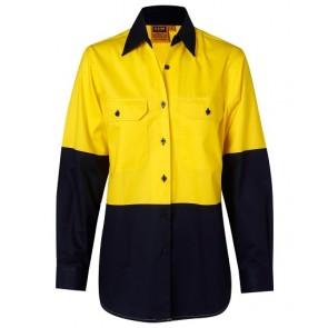 Australian Industrial Wear Women's Hi Vis Cotton Twill Long Sleeve Work Shirt