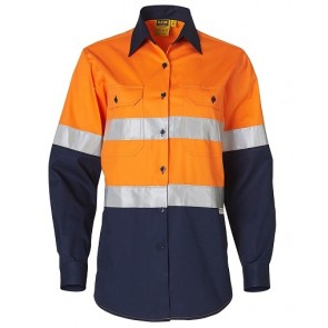 Australian Industrial Wear Women's Hi Vis Cool-Breeze Cotton Twill Long Sleeve Shirt with Reflective 3M Tapes