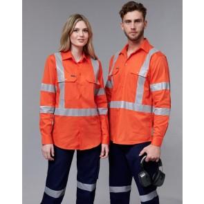 Australian Industrial Wear Hi Vis NSW Rail Unisex Light Weight Cotton Long Sleeve Shirt
