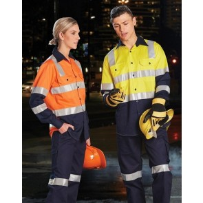 Australian Industrial Wear Hi Vis Unisex Biomotion Day/Night Light Weight Long Sleeve Shirt With X Back Tape Configuration