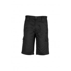 Syzmik Mens Drill Cargo Short - Black Front