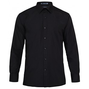 Van Heusen Mens European Fit Long Sleeve Cotton Polyester Solid Dyed Poplin Shirt - Black