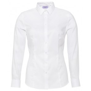 Van Heusen Ladies Classic Fit Long Sleeve Cotton Polyester Mini Herringbone Shirt - White