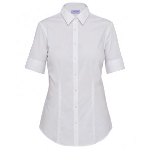 Van Heusen Ladies Classic Fit Short Sleeve Cotton Stretch Poplin Shirt - White