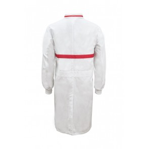 Work Craft Food Industry Long Length Dustcoat with Mandarin Collar, Contrast Trims on Collar and Chest Long Sleeve