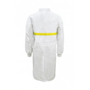 Work Craft Food Industry Long Length Dustcoat with Mandarin Collar, Contrast Trims on Chest- Long Sleeve