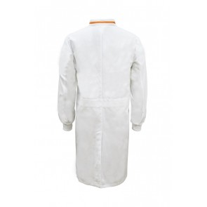 Work Craft Food Industry Long Length Dustcoat with Mandarin Collar, Contrast Trims on Collar Long Sleeve
