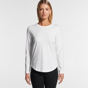AS Colour Woman's Curve Long Sleeve Tee - White Model Front