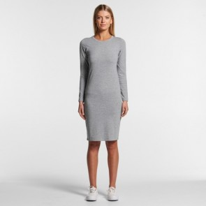 AS Colour Women's Organic Mika Long Sleeve Dress - Grey Marle Model Front