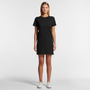 AS Colour Women's Organic Mika Short Sleeve Dress - Black Model Front