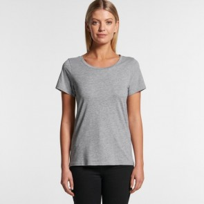 AS Colour Women's Shallow Scoop Tee - Grey Marle Model Front
