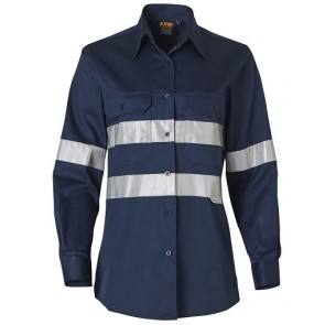 Australian Industrial Wear Women's Hi Vis Cotton Drill Long Sleeve Work Shirt with 3M Tape