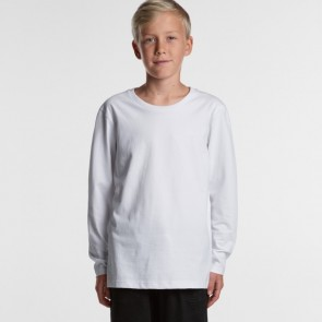 AS Colour Youth Long Sleeve Tee - White Model Front