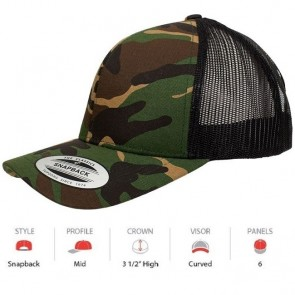Yupoong Classic Retro Trucker Camo - Green Camo with Black Mesh Cap Key